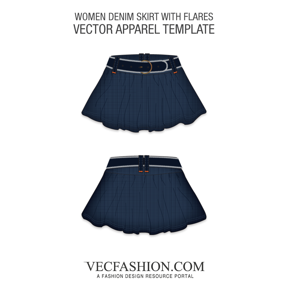 1000x1000 Denim Skirt Vector Template With Flares