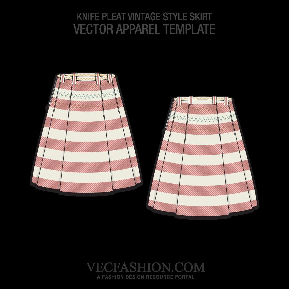 1000x1000 Knife Pleat Vintage Skirt