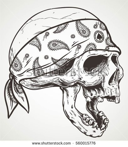 408x470 Collection Of Skull With Bandana Drawing High Quality, Free