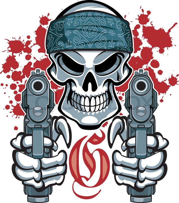 706x800 Gangster Skull With Bandana And Pistols Stock Vector Colourbox