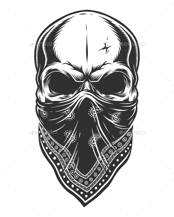 590x738 Illustration Of Skull In Bandana On Face By Imogi Graphicriver