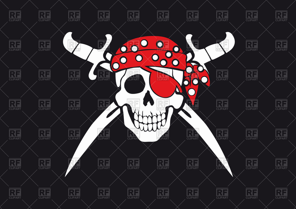1200x848 Pirate Flag Jolly Roger With Skull In Bandana And Swords Vector