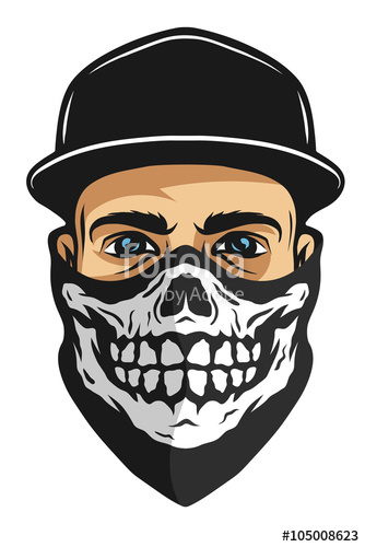 334x500 A Guy In A Bandana With A Skull Pattern. Stock Image And Royalty