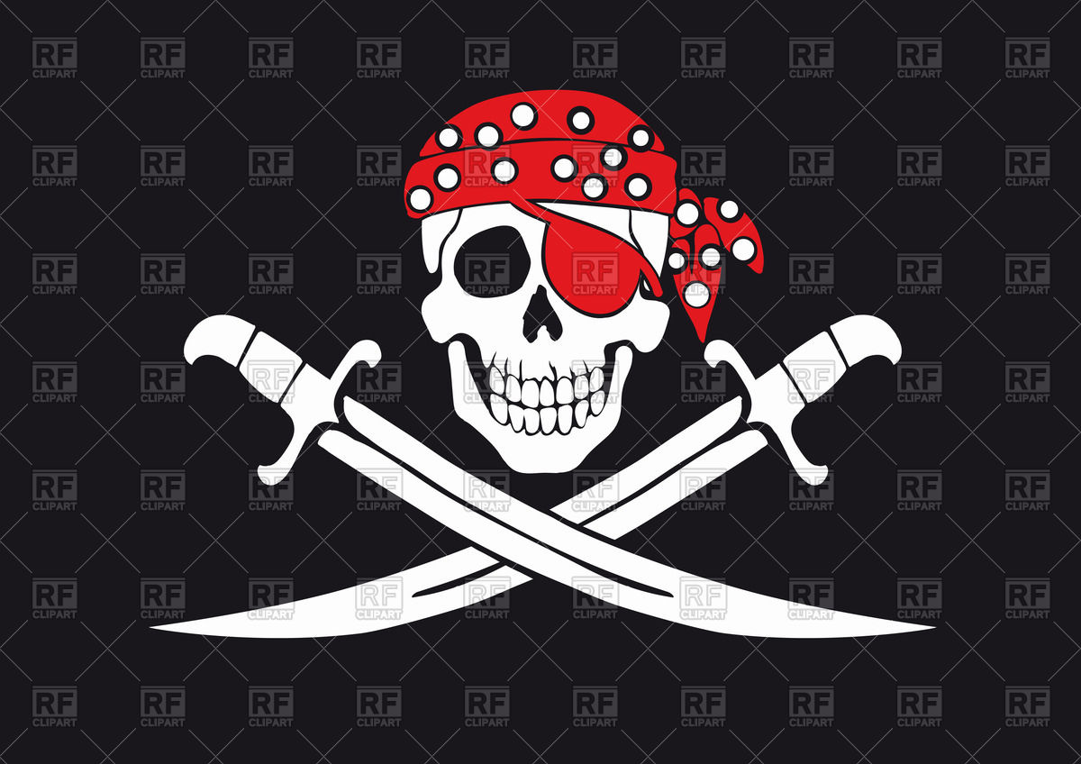 1200x848 Pirate Flag With Skull In Bandana And Swords Vector Image Vector