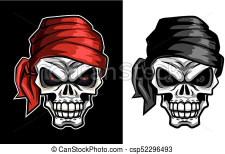 450x308 Retro Vintage Skull With Bandana Set In Vector Illustration With