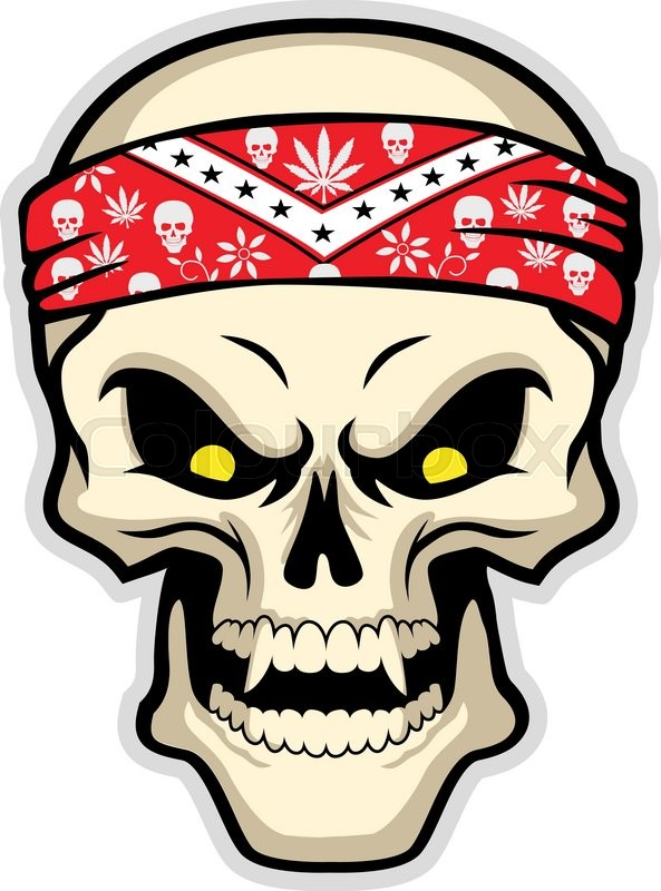 593x800 Skull Wearing Bandana, Vector Illustration Stock Vector Colourbox