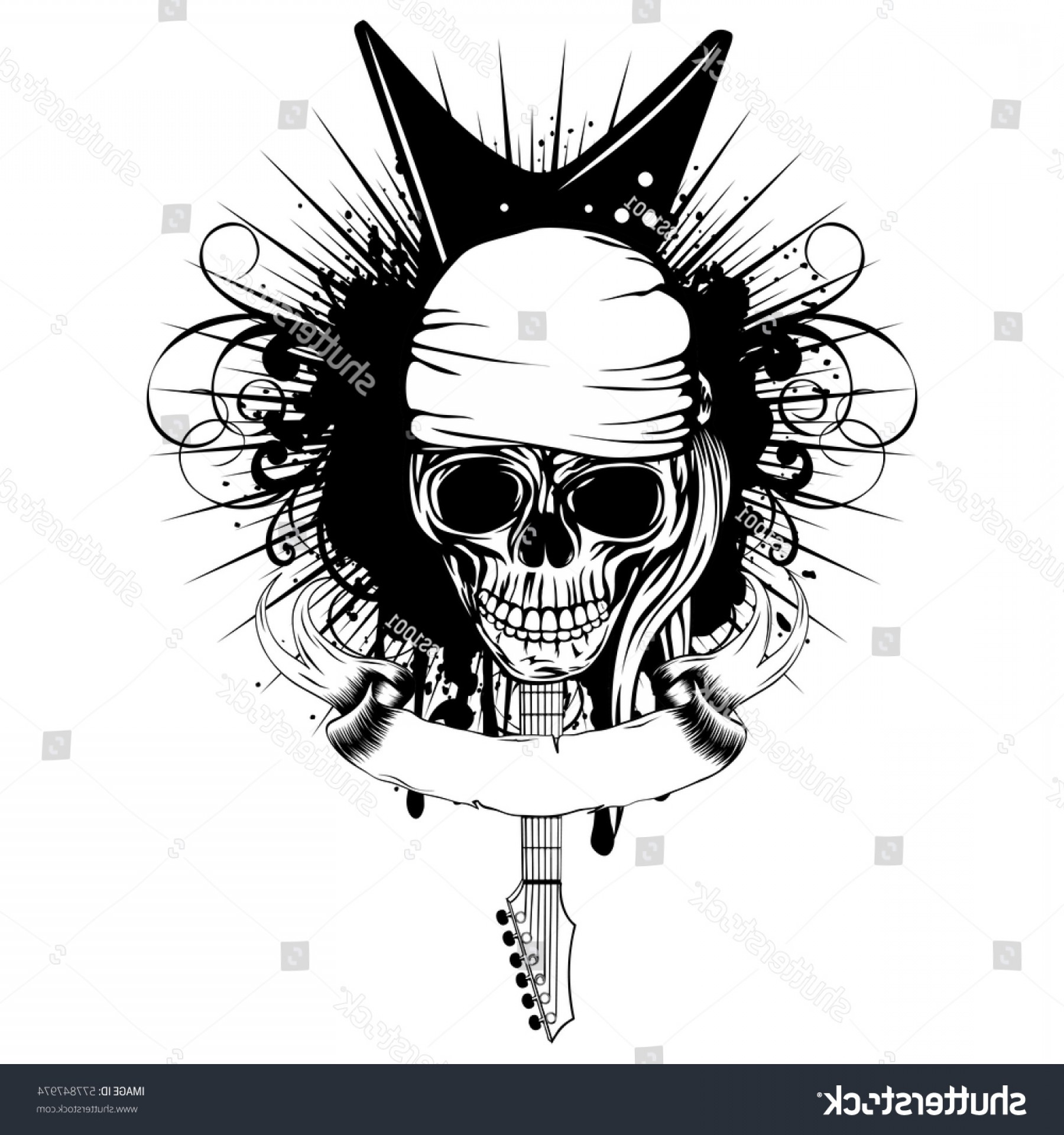 1800x1920 Vector Illustration Grunge Skull Bandana Guitar Rongholland