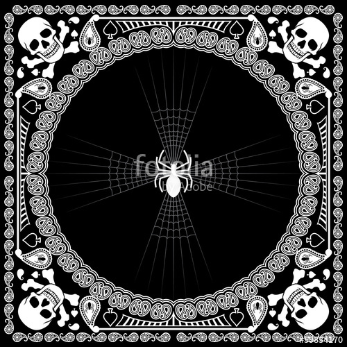 500x500 Bandana Pattern Skull And Spider Stock Image And Royalty Free