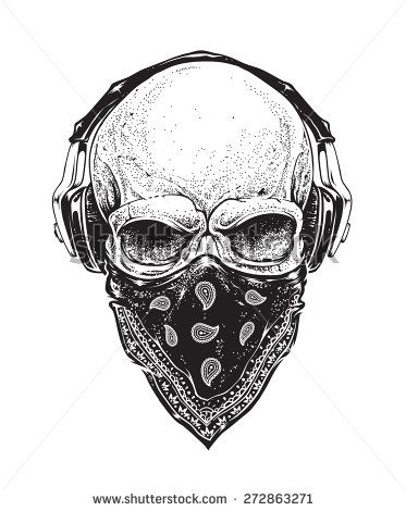 373x470 Dotwork Styled Skull With Headphones And Bandana. Vector Art