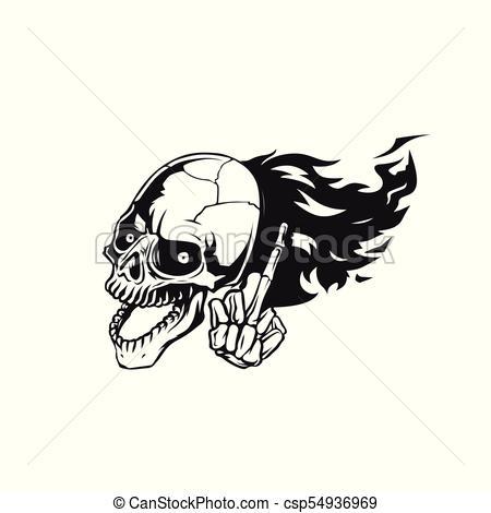 450x470 Skull Flying Logo Vector Illustration. Skull Flying Logo On White