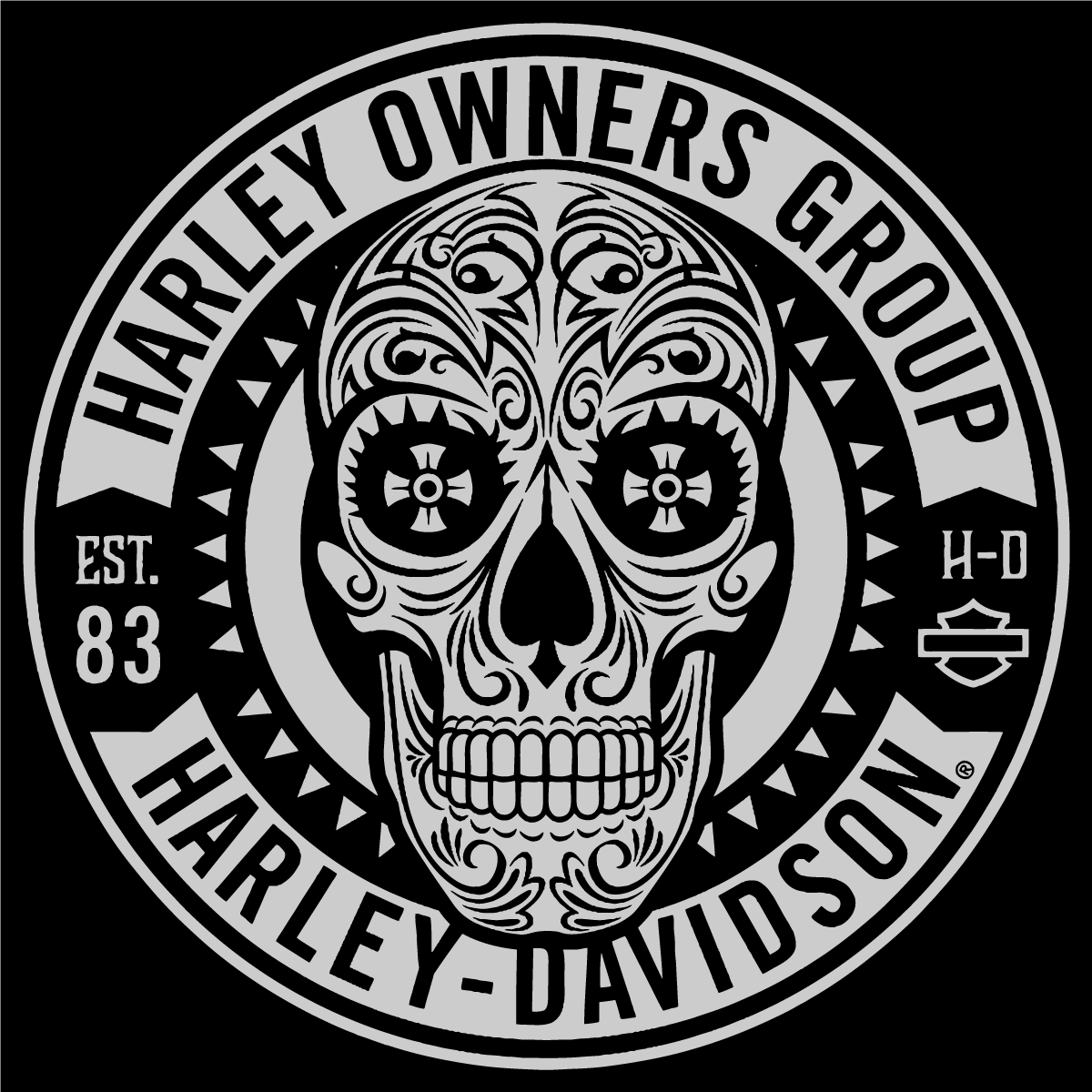 1200x1200 Harley Davidson Owners Group Skull Logo Vector Patch Sticker Badge