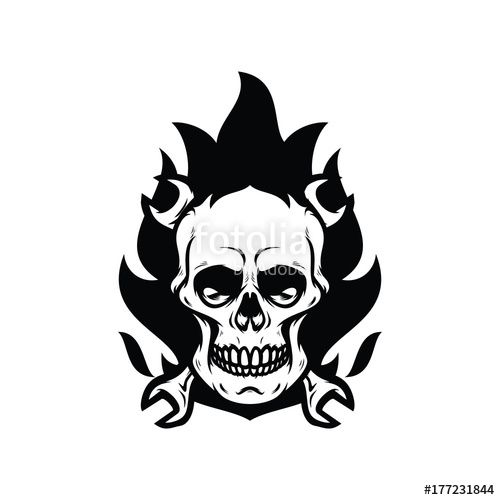 500x500 Skull Ghost Rider Road Vector Illustration Stock Image And