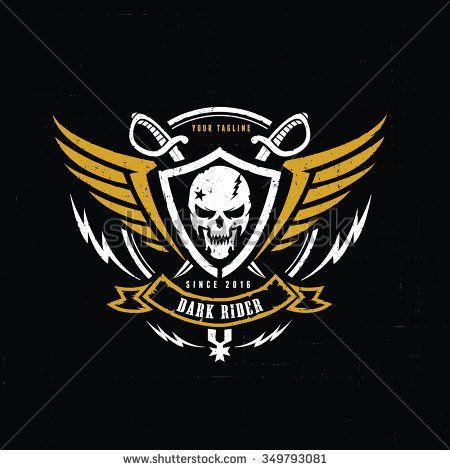 450x470 Dark Rider,racer Logo,crests Logo,skull Logo,vector Logo Template