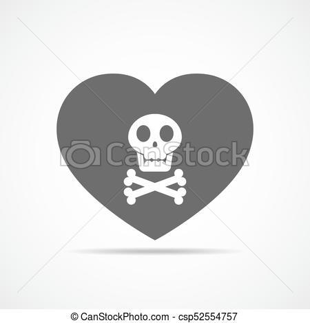 450x470 Heart And Human Skull. Vector Illustration. Heart With Human Skull