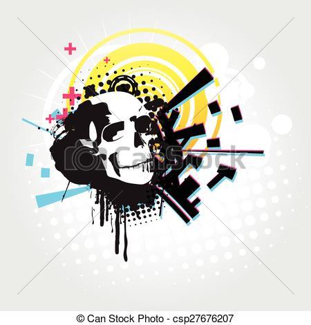 450x470 Abstract Skull Vector Art. Vector Skull Art In Abstract Background.