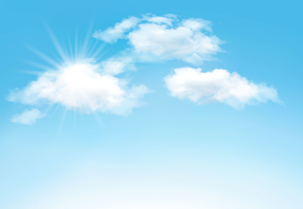 600x414 Sunlight And Clouds With Sky Background Vector 04