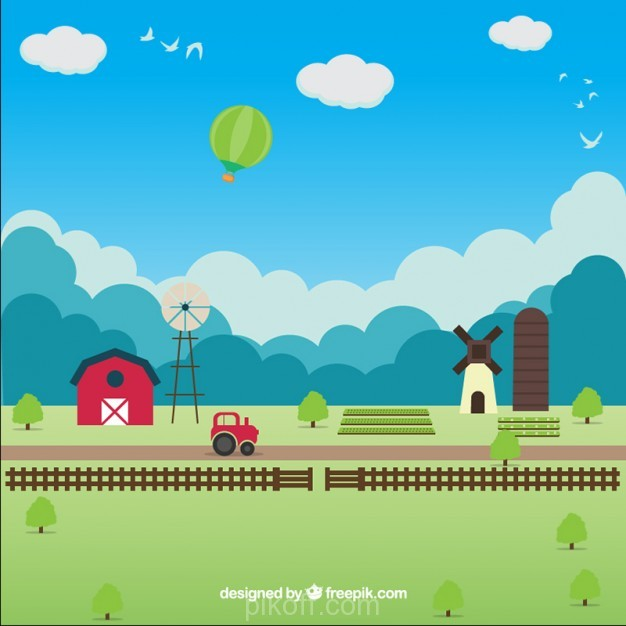 626x626 Ai] Flat Farm Landscape With A Blue Sky Vector Free Download