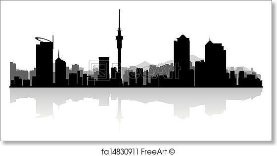 560x316 Free Art Print Of Auckland City Skyline Vector Silhouette