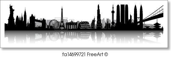 560x189 Free Art Print Of International Skyline Vector. International City