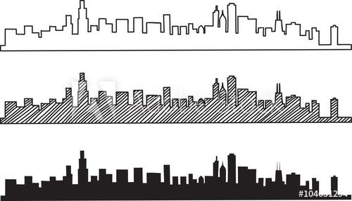 500x286 Free Hand Sketch Of Chicago Skyline. Vector Illustration Eps 10