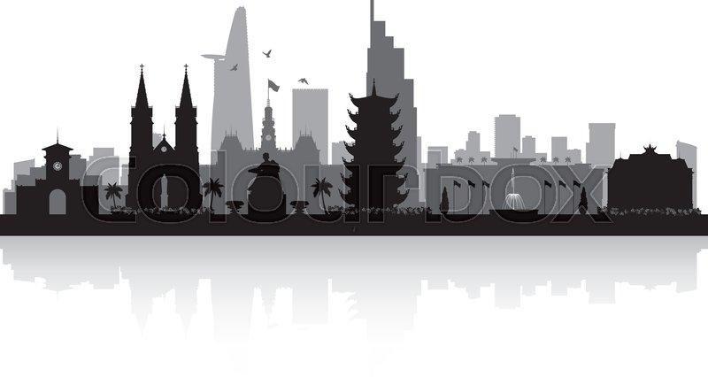 800x426 Ho Chi Minh City Vietnam Skyline Vector Silhouette Illustration