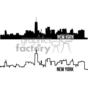 300x300 Royalty Free New York City Skyline Vector Art Outline And Fill