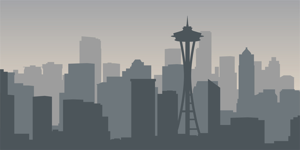 600x300 Seattle City Skyline Vector Free Download