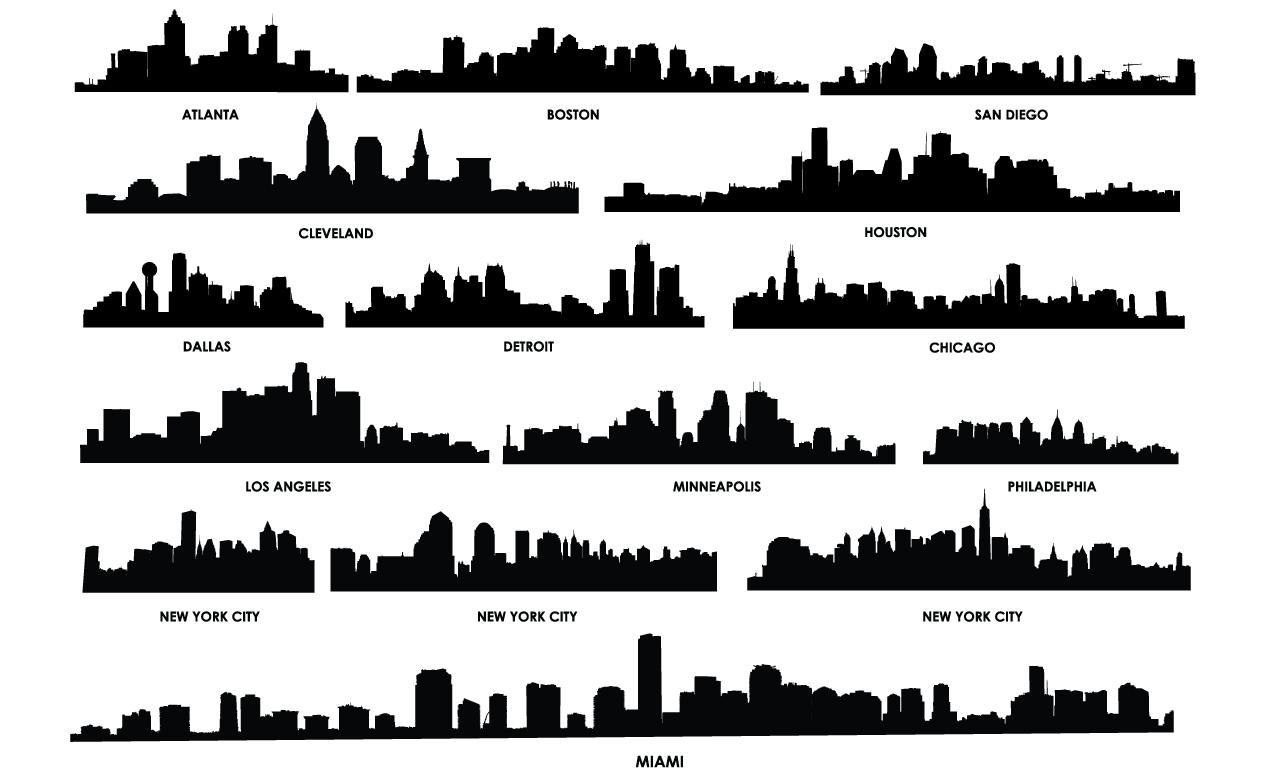 1270x778 City Skyline Vector Pack For Adobe Illustrator