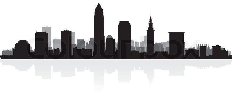 800x329 Cleveland Usa City Skyline Silhouette Vector Illustration Stock