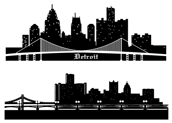600x430 Detroit Skyline Vector Silhouettes Free 123freevectors