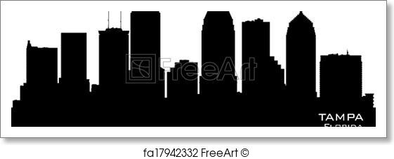 561x227 Free Art Print Of Tampa Florida City Skyline Vector Silhouette