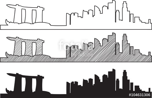 500x323 Free Hand Sketch Of Singapore Skyline. Vector Illustration Eps 10