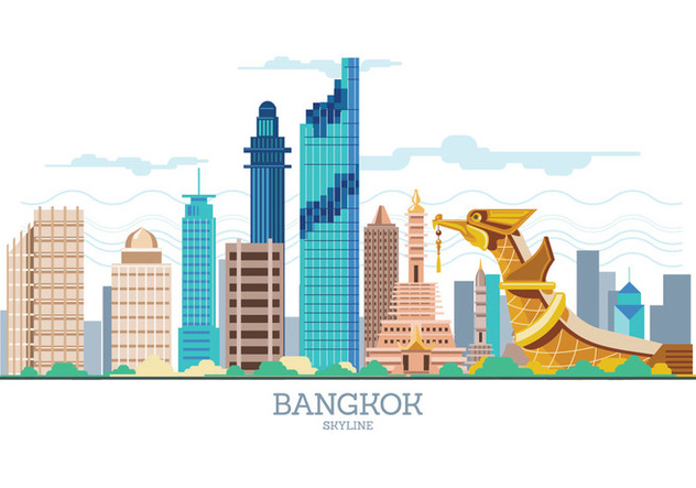 632x443 Bangkok Skyline Vector Free Vector Download 426197 Cannypic