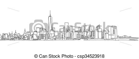 450x192 Free Hand Sketch Of New York City Skyline. Vector Scribble. Free