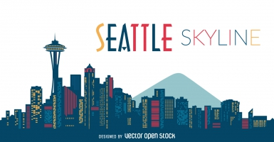 385x200 Seattle Skyline Free Vector Graphic Art Free Download (Found 904