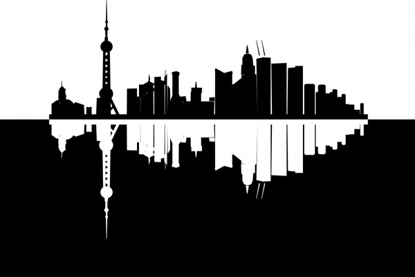 600x401 Shanghai Skyline Free Vector In Open Office Drawing Svg ( .svg