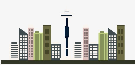 461x225 Vector Seattle Skyline, Skyline Vector, Building, Vector Png And