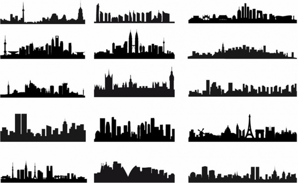 600x370 City Skyline Landscape Silhouette Vector Set Free Vector In