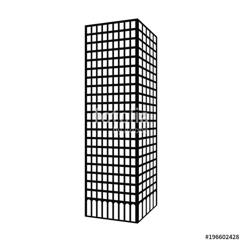 500x500 Silhouette Of Skyscraper. Vector Icon Stock Image And Royalty