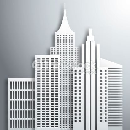 414x414 Abstract 3d Paper White Skyscrapers. Vector Illustration