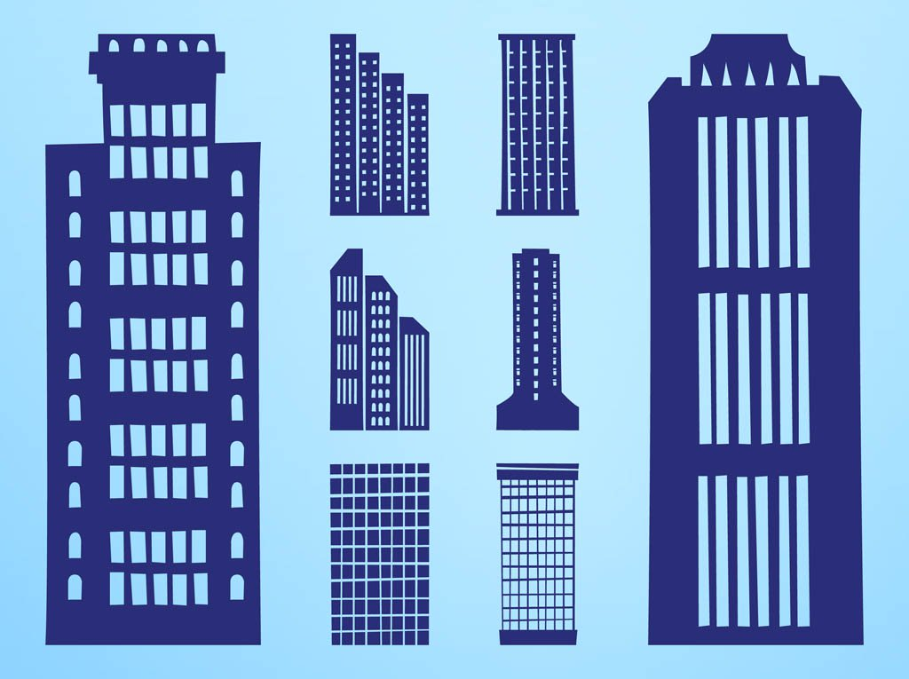 1024x765 Skyscrapers Silhouettes Set Vector Art Amp Graphics