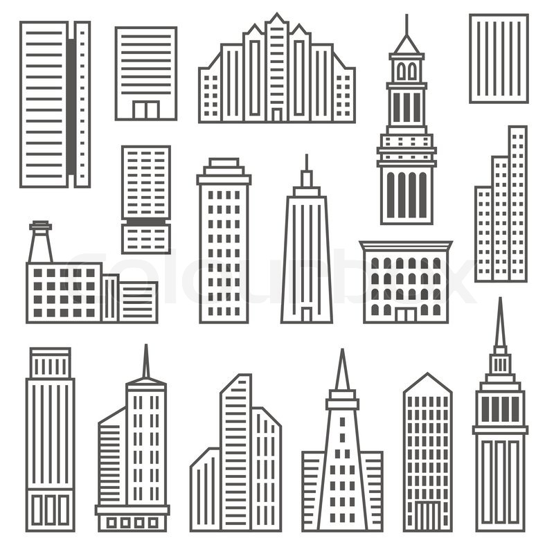 800x800 Skyscrapers Icons. Modern Vector Gray Silhouettes Of Buildings And