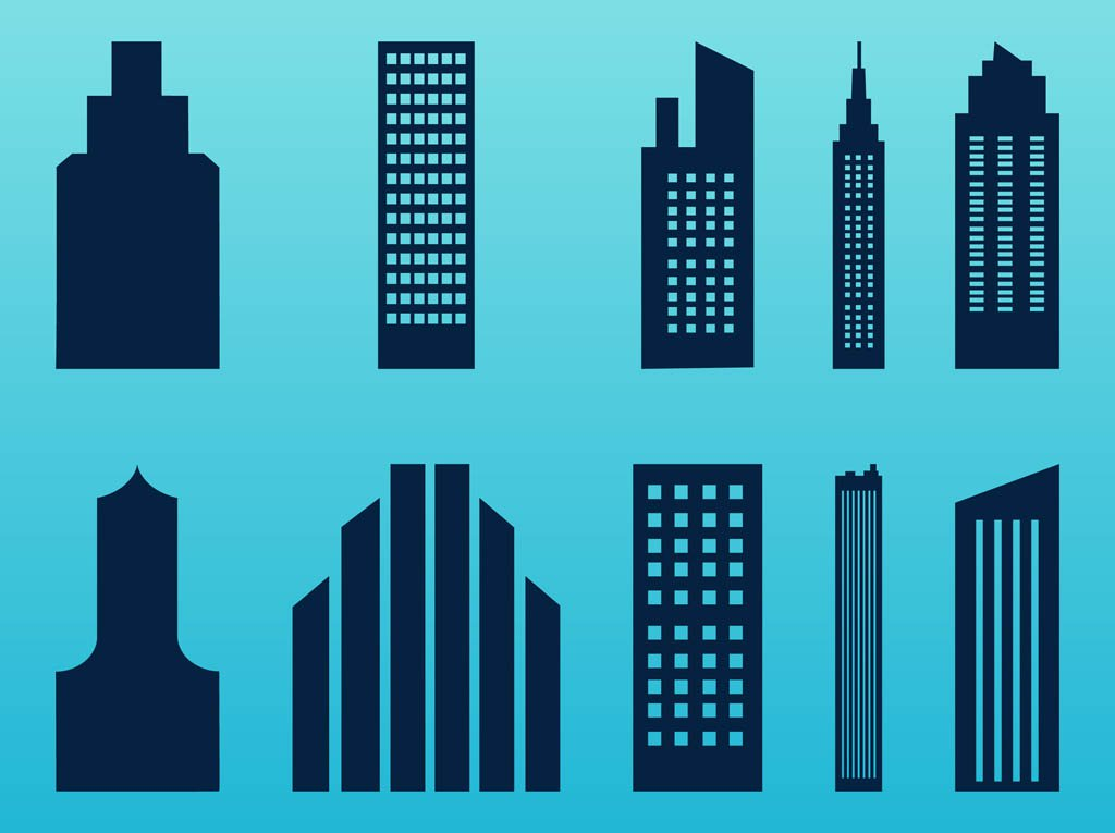 1024x765 Stylized Skyscrapers Set Vector Art Amp Graphics