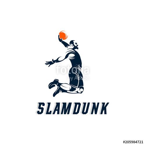 500x500 Slam Dunk Basketball Pose Silhouette Logo, Basketball Logo