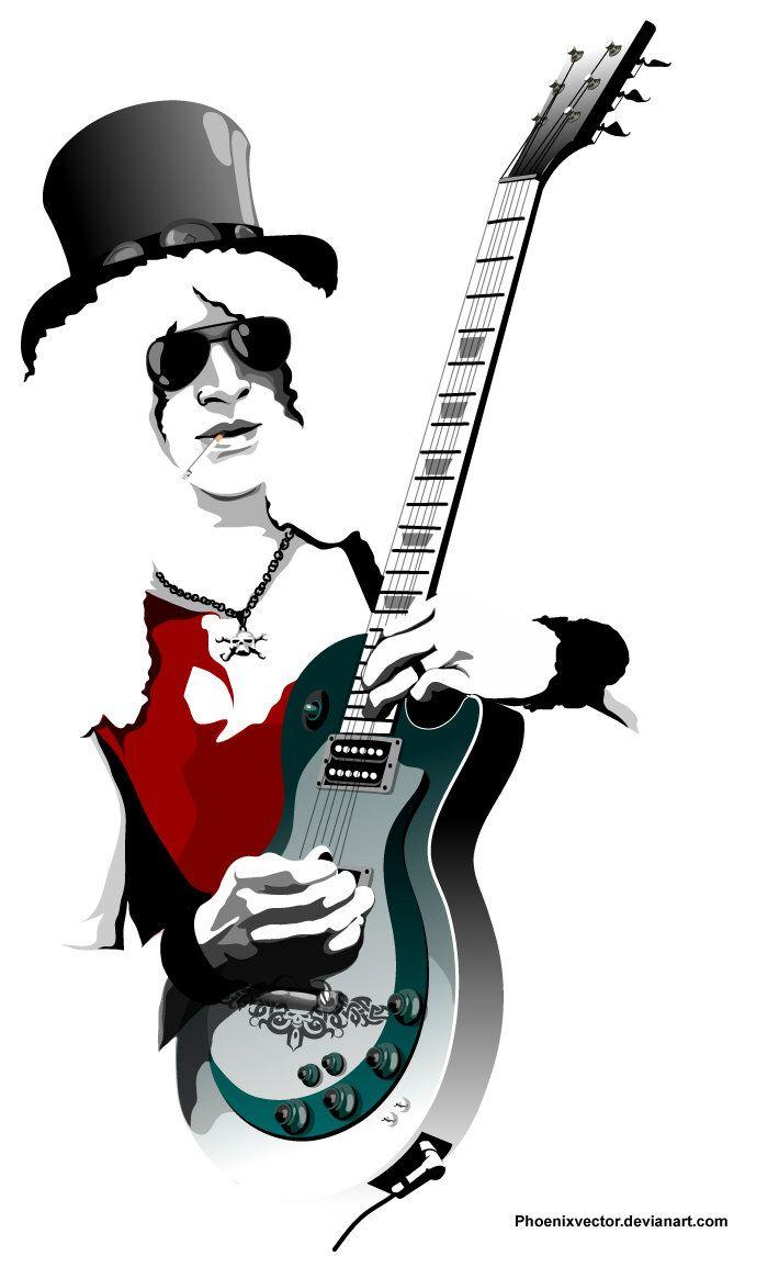 710x1154 Guitar Legend Slash By Phoenixvector Vector Art