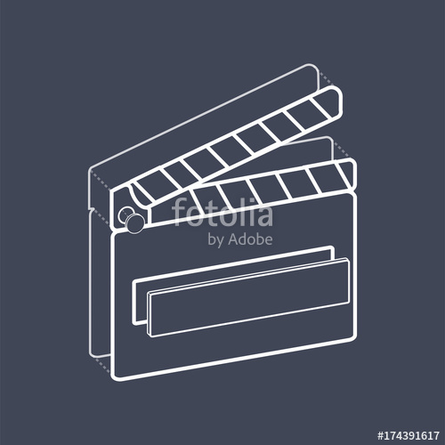500x500 Illustration Of Movie Slate Vector Stock Image And Royalty Free