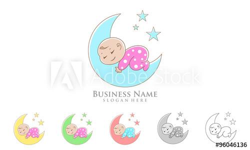 500x300 Baby Moon Logo, Cute Baby Sleep Vector Logo Design