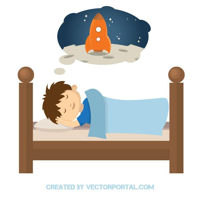 660x660 Kid In The Bed Vector Image
