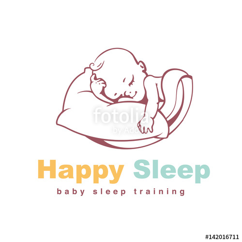 500x500 Baby Logo Template. Sleeping Baby. Kid On Soft Pillow Under
