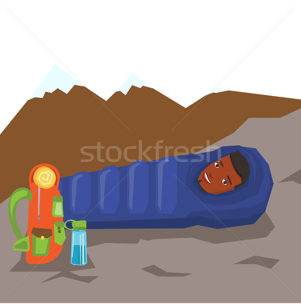 594x600 Man Resting In Sleeping Bag In The Mountains. Vector Illustration
